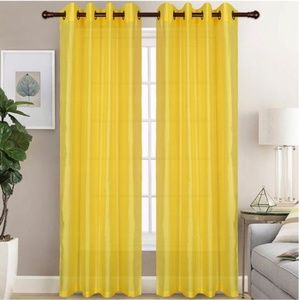 Glory Home Design Accents - Christina Faux Silk Grommet-Top Panel_YellowSS